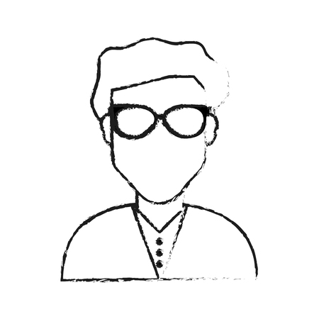 blurred silhouette half body faceless man with glasses vector illustration