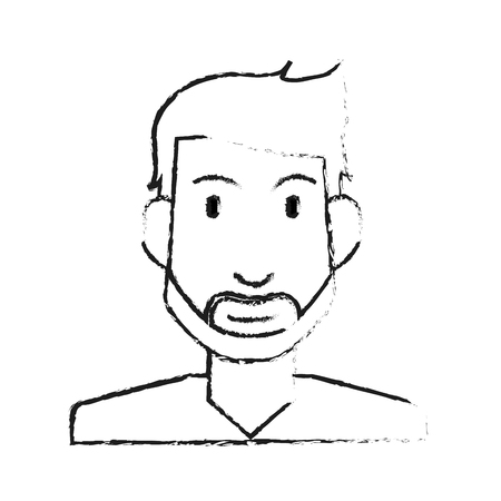 Blurred silhouette half body man bearded vector illustration