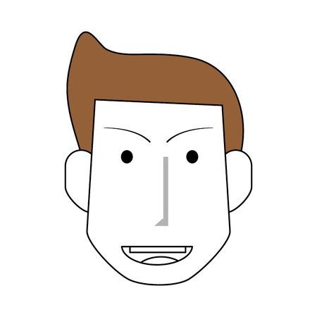 スケッチ色シルエット フロント髪型と顔の男を見るし、ベクトル図を笑顔