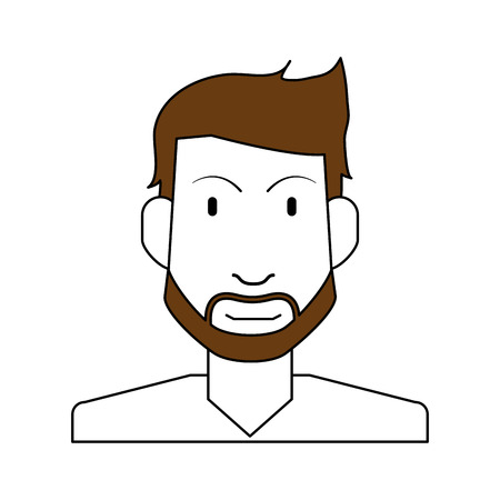 A sketch color silhouette half body man bearded vector illustration Illustration