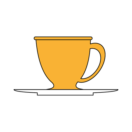 A sketch color silhouette dish porcelain with cup vector illustration