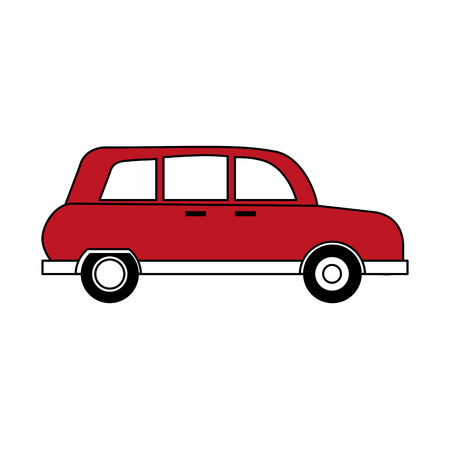 A sketch color silhouette red automobile vehicle transport vector illustration Illustration