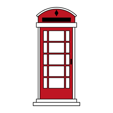 A sketch color silhouette London red phone booth vector illustration