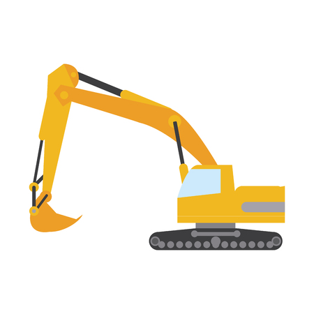 excavator or backhoe construction heavy machinery icon image vector illustration design Illustration