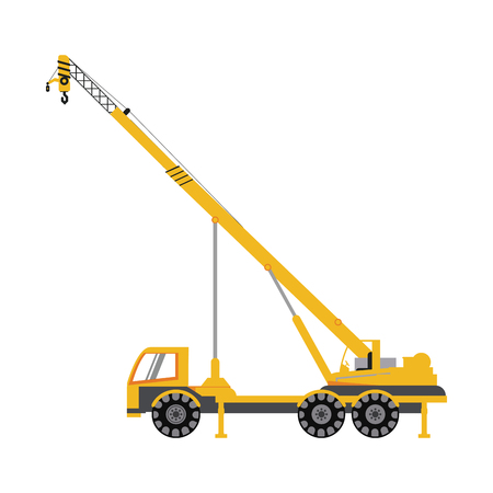 earth mover: crane truck construction heavy machinery icon image vector illustration design Illustration