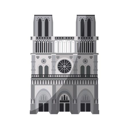 notre dame de Parijs kathedraal pictogram afbeelding vector illustratie ontwerp