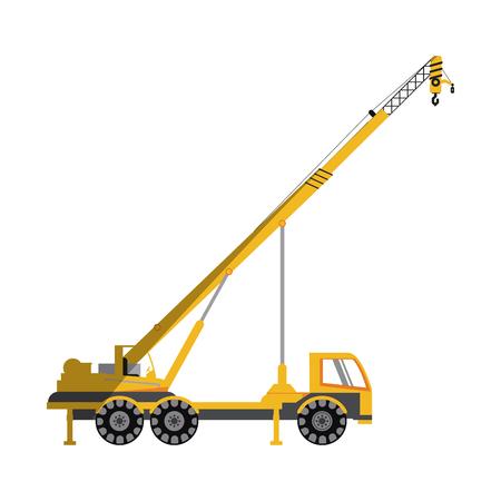 grader: crane truck construction heavy machinery icon image vector illustration design Illustration