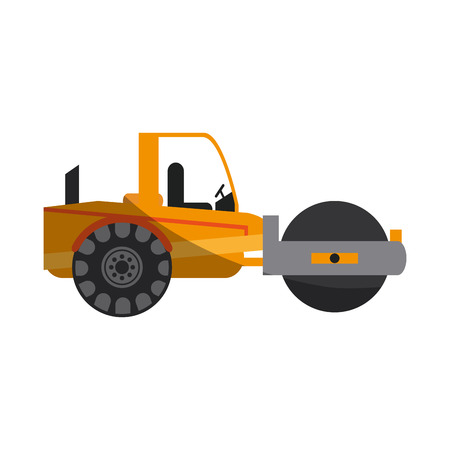 quarry: road roller construction heavy machinery icon image vector illustration design
