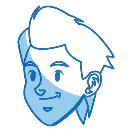 Cartoon boy head sport design, vector illustration graphic.