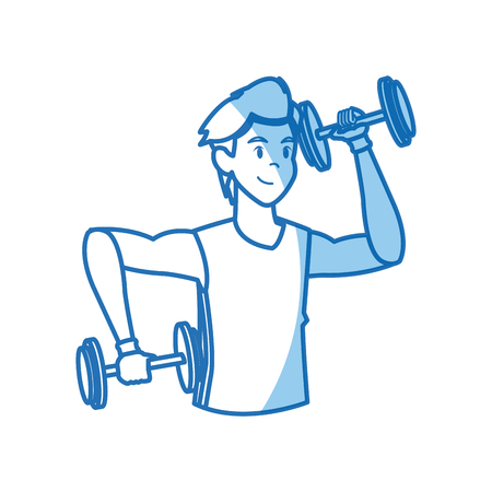 gym equipment: Cartoon sport man weight lifting design, vector illustration graphic.