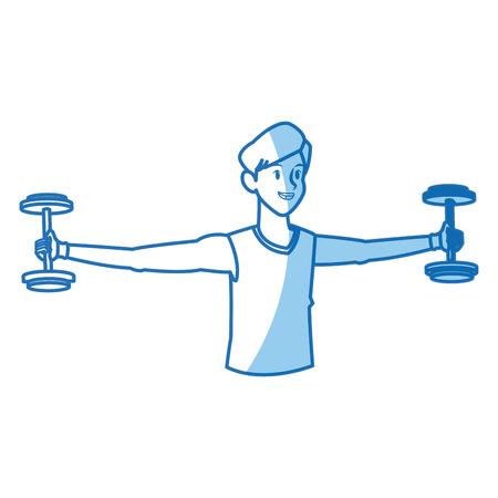 Sport boy barbell gym fitness design, vector illustration graphic.