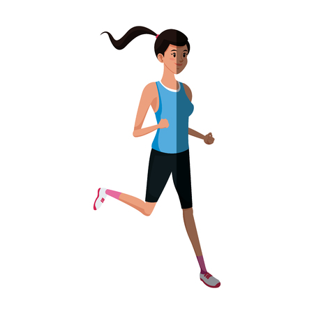 Runner girl training athletic design, vector illustration graphic. Illustration