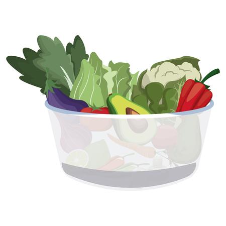 A bowl salad vegetarian menu restaurant food vector illustration Illustration