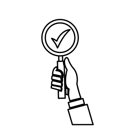 Hand holding loupe search check list line vector illustration