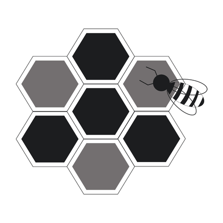 bee hive team work community concept line vector illustration