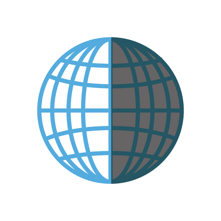 globe connection technology system shadow vector illustration