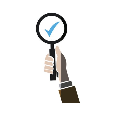 A hand holding lope search check list concept shadow vector illustration