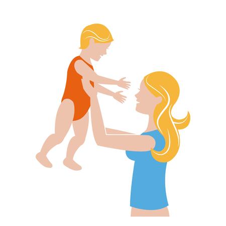 cuddling: mom holding baby playing image vector illustration