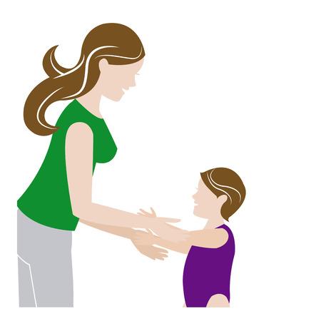 mother and her son child together vector illustration Illustration