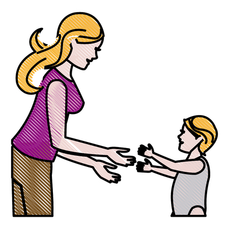 drawing mother and her son child together vector illustration
