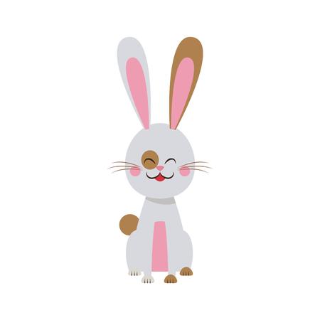 cute easter bunny spring celebration design vector illustration