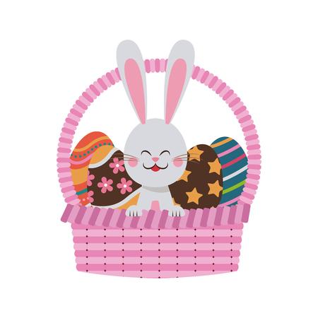 cute easter bunny basket egg celebration party vector illustration Illustration