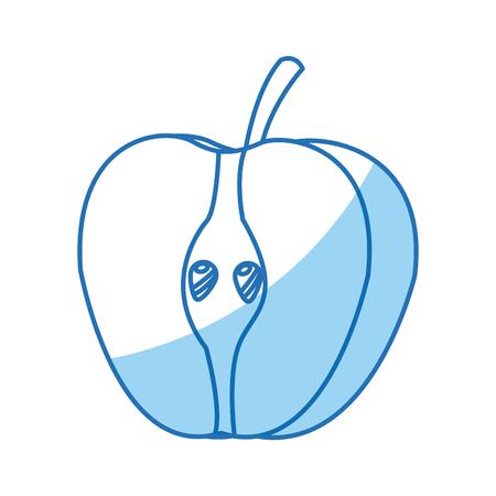 half apple fresh tasty fruit design vector illustration Illustration