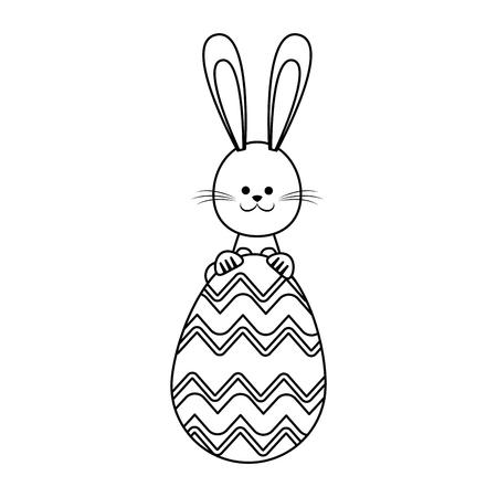 happy easter rabbit decoration party line vector illustration Illustration