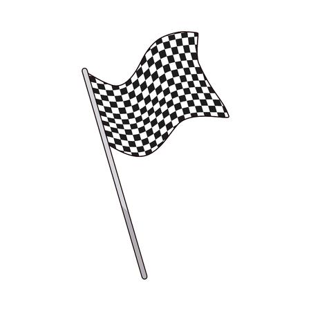 crossed checkered flags: flag start sport victory finish symbol vector illustration