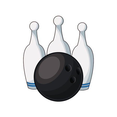 bowling ball and pin game equipment image vector illustration Illustration