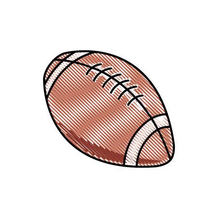 original single: drawing american football ball sport competition element vector illustration Illustration