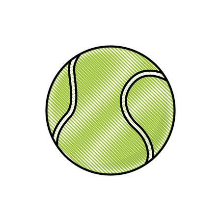 drawing tennis ball sport competition element vector illustration