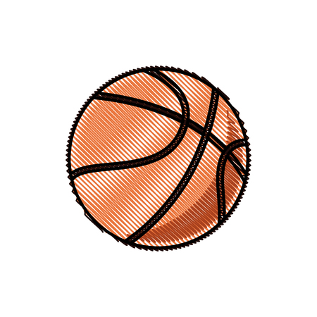 puck: drawing basketball ball sport competition element vector illustration Illustration