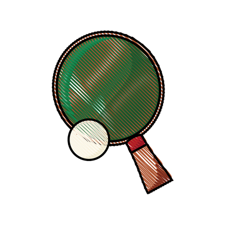 drawing racket and ball ping pong play vector illustration Illustration