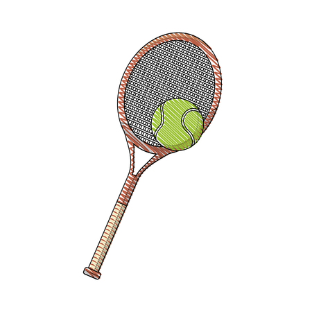draw tennis racket and ball sport equipment vector illustration Çizim
