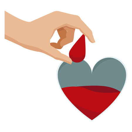 hand holding drop blood heart donate campaign vector illustration