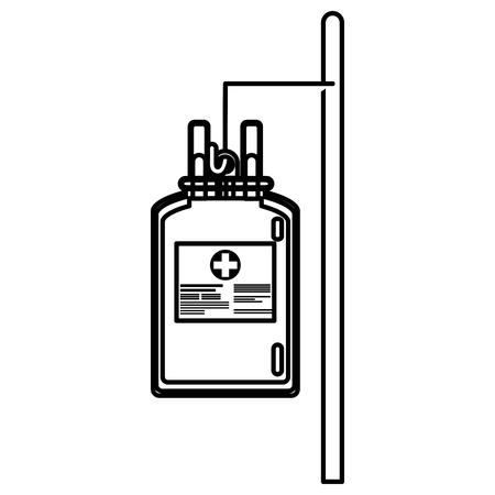 bag blood hanging trasnfusion donation line vector illusration