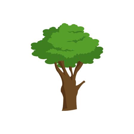 tree trunk leaves foliage natural image vector illustration Illustration