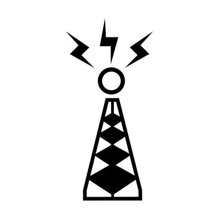 cell tower: antenna trasmission communication station equipment vector illustration Illustration