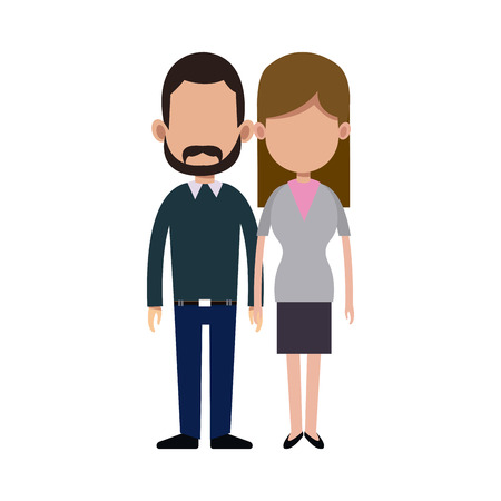 causal: cartoon couple holding hand romantic image vector illustration Illustration