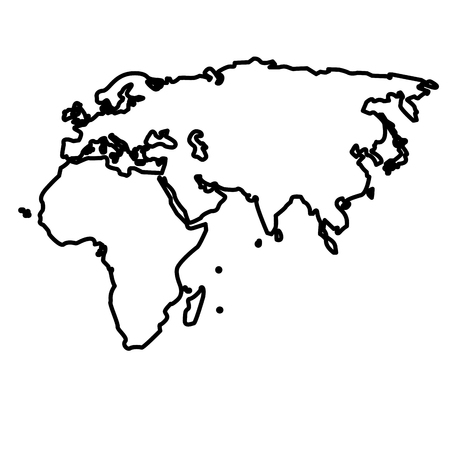 outline map european african and asian continent vector illustration