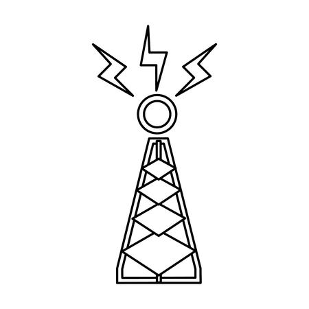 tower antenna trasnmission signal line vector illustration