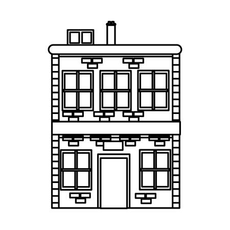 bouw van residentiële baksteen schoorsteen windows lijn vectorillustratie