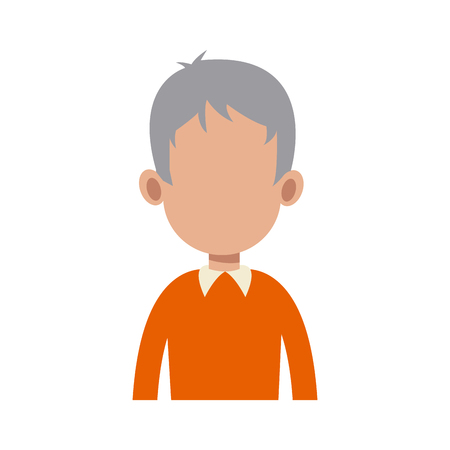 gray hair: portrait man people faceless style image vector illustration