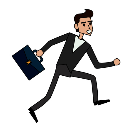 color image cartoon full body man running with a portfolio vector illustration