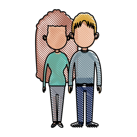 drawing couple lovely together relationship image vector illustration Illustration