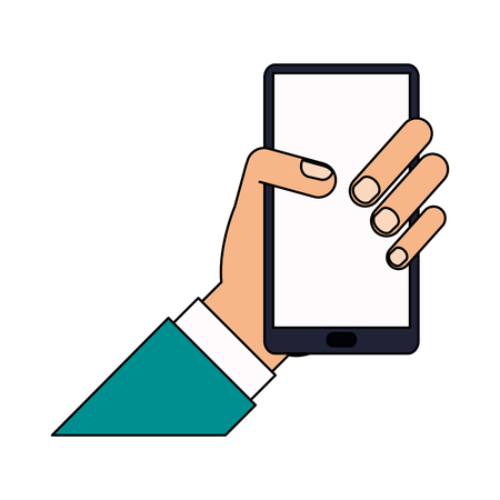color image cartoon hand holding smartphone device vector illustration