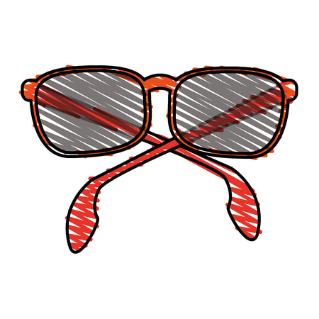 color crayon stripe sunglasses with red contour vector illustration Illustration