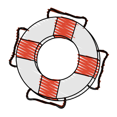 rubber tube: color crayon stripe inflatable rings for rescue vector illustration