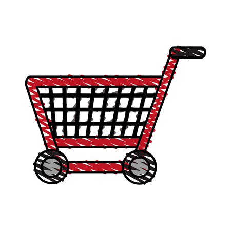 color crayon stripe shopping cart with wheels vector illustration Illustration
